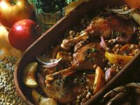 Goose Thighs with Lentils and Apples recipe