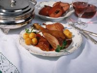 Goose Thighs with Red Currant Sauce and Pears recipe