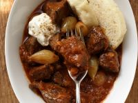 Goulash with Sour Cream and Dumplings recipe