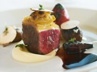 Gourmet Beef with Celeriac Puree and Jus recipe