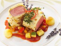 Gourmet Lamb with Crepe Coating recipe