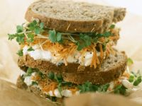 Grated Carrot and Soft Cheese Sandwich recipe