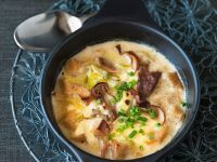 Gratin of Bread Soup with Leek and Mushrooms recipe