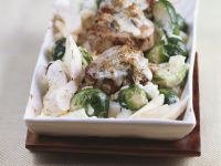 Gratinéed Pork Medallions with Brussels Sprouts, Celery Root, and Pears recipe