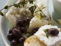Greek Crostini with Feta Cheese and Olives on Ciabatta recipe