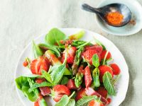 Green Asparagus and Strawberry Salad with Rhubarb recipe