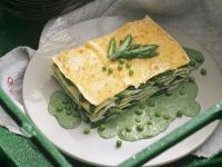 Green Lasagna with Peas and Green Asparagus recipe