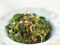 Green Leaves with Pignoli recipe