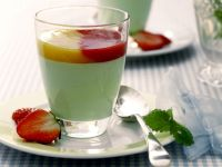 Green Panna Cotta with Two Fruit Sauces recipe