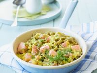 Green Pasta with Salmon and Mustard-dill Sauce recipe