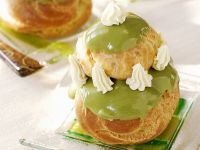 Choux Buns with Matcha Glaze recipe