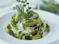 Green Ribbon Pasta with Herbs and Creme Fraiche recipe