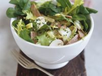 Green Salad with Cheese, Mushrooms and Ham recipe