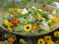 Green Salad with Nasturtium and Marigold Flowers recipe