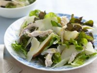 Green Salad with Roast Chicken, Pear and Parmesan Cheese recipe