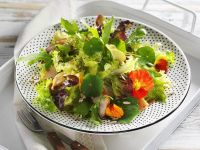 Green Salad with Smoked Chicken and Nasturtium Flowers recipe