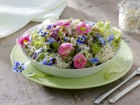 Green Salad with Sprouts and Edible Flowers recipe