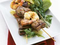 Grilled Beef-Shrimp Skewers with Salad recipe