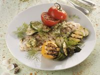 Grilled Catfish with Vegetables and Dill Pesto recipe