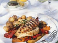 Grilled Chicken Breast with Potatoes and Marinated Peppers recipe