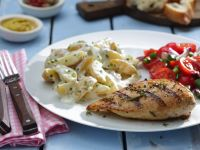Grilled Chicken Breasts with Potato and Tomato Salads
