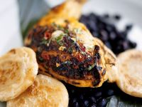 Grilled Chicken Legs with Bean Salad and Potato Cakes recipe