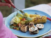 Grilled Chicken Roulade with Salad and Corn on the Cob recipe