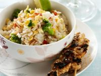 Grilled Chicken Skewers with Rice recipe
