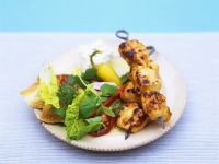 Grilled Chicken Skewers with Salad recipe