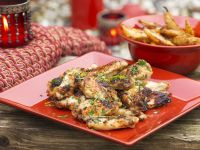 Grilled Chicken Wings with Tangy Baked Potatoes recipe