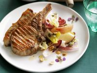 Grilled Chops with Endive and Peach Salad recipe