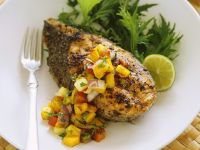 Grilled Cod Steaks with Mango Salsa recipe