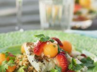 Grilled Cod with Summer Fruit Salad recipe