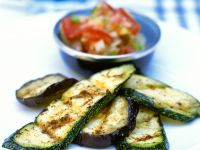 Grilled Eggplant and Zucchini with Pepper Salad recipe