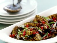 Grilled Eggplant Salad with Pomegranate and Mint recipe