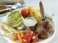Grilled Elk Steak with Vegetables and Herbed Dip recipe