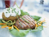 Grilled Fillet with Soft Cheese Potatoes recipe