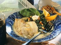 Grilled Flounder with Spinach recipe