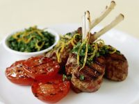 Lamb Rack Lollipops with Grilled Tomato recipe