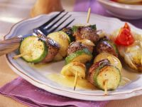 Grilled Lamb and Zucchini Skewers with Endive recipe
