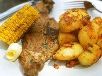 Grilled Lamb Chops, Potatoes and Corn on the Cob recipe