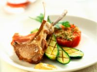 Grilled Lamb Chops with Zucchini and Tomatoes recipe