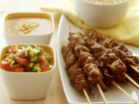 Meat Skewers with Diced Salad and Dip recipe