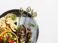 Grilled Lamb Skewers with Salad recipe