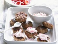 Grilled Meatballs with Radish Dip recipe