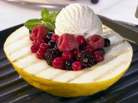 Grilled Melon with Berries and Vanilla Ice Cream recipe