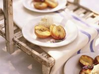Grilled Peaches with Lavender Honey and Ice Cream recipe