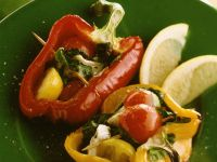 Grilled Peppers with Cheese and Basil recipe