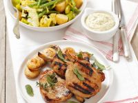 Grilled Pork Chops and Potato Salad with Beans recipe