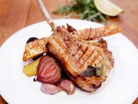 Grilled Pork Chops with Carrots and Beets recipe